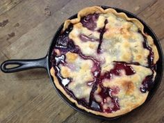This skillet blackberry cobbler is chock full of  sweet, tangy blackberries topped with a sugary crust. It is RAVE worthy!
