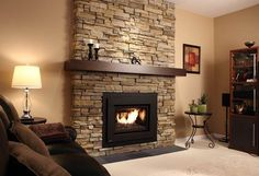 Fireplace with stones