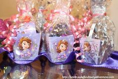 Party favors at a Sofia the First birthday party! See more party planning ideas at CatchMyParty.com!