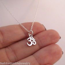 Tiny Ohm Necklace - 925 Sterling Silver - Ohm Charm Small Namaste Yoga *NEW* Om