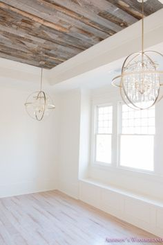 Inside our 1905 Historic Home Restoration. alabaster-walls-girls-bedroom-stikwood-weathered-wood-c Wall Paint Colors, White Wall Paint, Wood Ceilings, Best White Paint, White Interior Paint, White Paint Colors, White Interior, Whitewashed Hardwood Flooring, Little Girl Bedroom