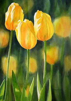 Fine Art Print, Yellow Tulips, Matted 11x14