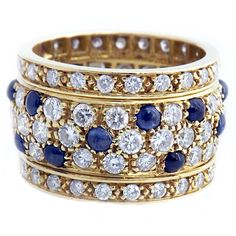 Cartier Nigeria Sapphire Diamond Yellow Gold Band | From a unique collection of vintage band rings at https://www.1stdibs.com/jewelry/rings/band-rings/
