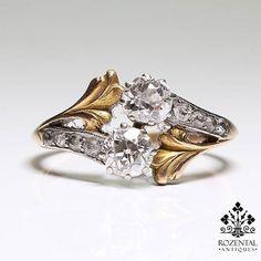 Antique Art Nouveau 18K Gold & Platinum Diamond Ring