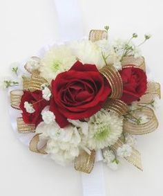 Hall's Flower Shop and Garden Center - Wrist Corsage Red, White,