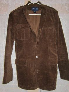 Woman's Ralph Lauren Brown FULL CORDUROY Button Up Coat Size 12 #RalphLauren