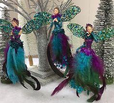 Christmas Tree Decoration Peacock Feather Fairy Gisela Graham Fairies Vintage