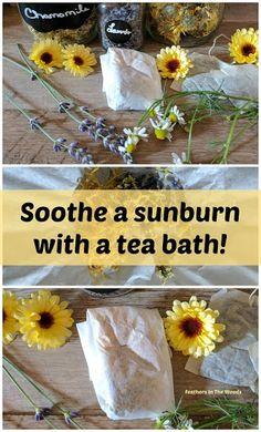 How to make an herbal tea bath to soothe a sunburn.