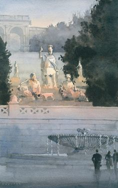 "Michael Reardon Watercolors  La Dea Roma tra il Tevere e L'Aniene 16"" x 10"" 18 September 2014"