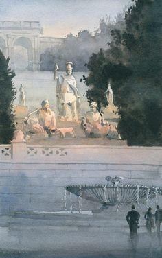 """Michael Reardon Watercolors  La Dea Roma tra il Tevere e L'Aniene 16"""" x 10"""" 18 September 2014"""