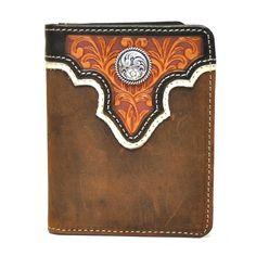 Dark Rowdy Brown Ariat Performance Work Mens Bi-Fold Flipcase Leather Wallet