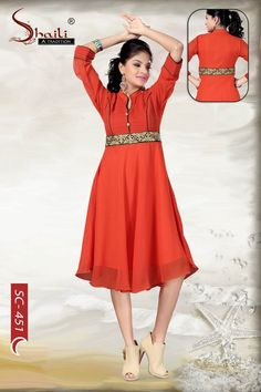 Elegantly Orange Layered Long Georgette Designer Tunic by Snehal Creation