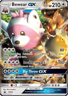 """Beware the big bear hug! A new """"Bewear-GX Box"""" will be released in June featuring a foil promo card and jumbo card of Bewear-GX, four booster packs, and a Carte Pokemon Mega, Pokemon Go, Pokemon Guide, Pokemon Cards Legendary, Pokemon Cards For Sale, Captain America Suit, Double Impact, Pokemon Trading Card, Trading Cards"""