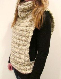 Crochet Vest with Cowl // Pattern only by MintyDesigns on Etsy Crochet Jacket, Crochet Cardigan, Crochet Scarves, Crochet Shawl, Crochet Clothes, Diy Clothes, Knit Crochet, Crochet Vests, Knitting Patterns