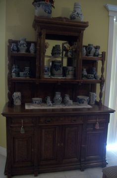 My Belgium hutch with German Westerwald pottery.