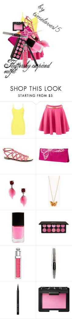 """""""Fluttershy inspired outfit"""" by spectrastarlight ❤ liked on Polyvore featuring BKE core, B Brian Atwood, Krystal, Forever 21, Boohoo, Christian Dior, L'Oréal Paris, Bobbi Brown Cosmetics and NARS Cosmetics"""