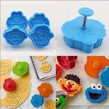 2016 Nova quatro modelos 3D Sesame Street Elmo Cookie Cutter Biscoito Selo Mão Imprensa Êmbolo Cortador Mold Frete Grátis(China)