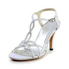 Charme satin talon aiguille sandales avec des chaussures de mariage strass (plus de couleurs) – USD $ 59.99