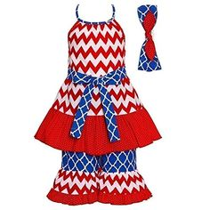 960202a021883 Sophias Style Girls Grace Red White Blue Chevron Patriotic Spring Outfit  Proudly Made in the USA! Trendy Top and Pants Outfit. Sizing is based on U.