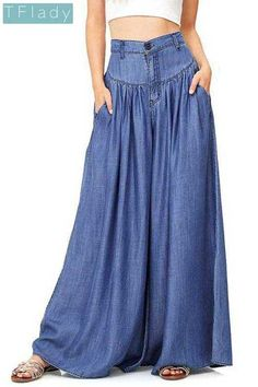 976fbb612a Blue Pockets Draped Plus Size High Waisted Casual Comfy Long Wide Leg Flare  Pants