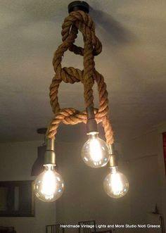 STUDIO NIOTIS: Χειροποίητο τρίφωτο φωτιστικό οροφής με σχοινί τύπ...
