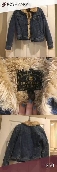 Jean jacket with fur inside Vintage lucky brand jean jacket with fake fur inside. Great condition!!! Lucky Brand Jackets & Coats Jean Jackets