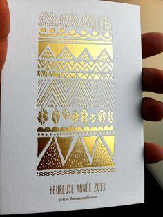 Marquage à chaud or - Carte de voeux #Dorure #wishCard