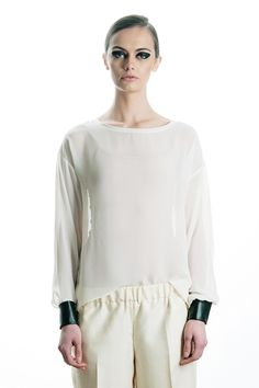 faux leather cuff blouse, spring / summer 2013  49€ Fashion Project, Leather Cuffs, Daughter, Tunic Tops, Spring Summer, Blouse, Collection, Women, Women's