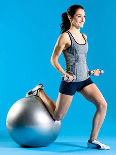 Dip-and-Drag Curl: Holding a dumbbell in each hand, arms by sides, palms facing forward, stand with back to stability ball, feet hip-width apart. Bend both elbows and draw them behind your back so that ends of dumbbells brush either side of hips or come as close to them as possible without straining. Bend right knee and place right shin on top of ball behind you. Sink into a single-leg squat. Straighten left leg to return to standing as you curl weights to armpits, skimming torso with ends o...