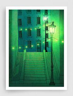 SALE, Paris illustration - Night walking - Paris Montmartre,Art,art illustration,art print,Paris by night,Art Poster,Paris art,Paris decor,g...