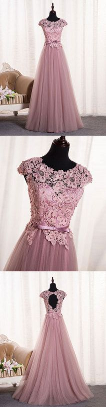 pink lace long prom dress, pink evening dress, formal dress