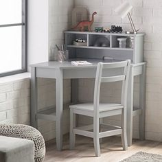 Kids' Desks - Classic Corner Desk And Reversible Hutch With Chair Neutral Gray finish * Details can be found by clicking on the image.