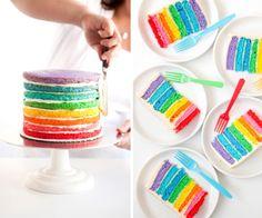 Tarta arcoiris, el pastel pintado - Recetín