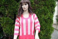 Vintage Pullover - Pullover pink rosa creme gehäkelt gestrickt Mode  - ein Designerstück von trixies-zauberhafte-Welten bei DaWanda