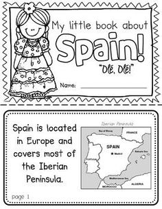 Spain Booklet (A Country Study!) -- Use during social studies units about countries around the world! TeachersPayTeachers **Could do a United States booklet too Geography For Kids, Teaching Geography, World Geography, Around The World Theme, Holidays Around The World, Spanish Lessons For Kids, Teaching Spanish, Learn Spanish, All About Spain