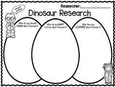 """FREEBIE in the PREVIEW!  Dinosaurs """"Research"""" Writing Mini Unit for k-2!  Check it out!!!  Great for simple research skills."""