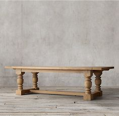 RH's 1930s French Farmhouse Rectangular Extension Dining Table:An antique American table from the last century inspired our grandly scaled reproduction, with baluster-style turned legs and low stretcher beams to support the planked top.