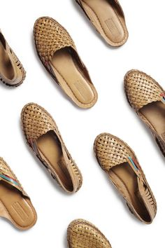 Woven City Slippers hand crafted in an artisan collective in rural India. $145.00 per pair.