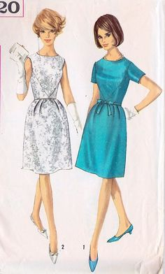 Misses Dress Vintage Sewing Pattern simple cocktail party dress sheath full skirt short sleeves aqua turquoise blue white brocade shoes hair purse clutch Moda Vintage, Style Vintage, Vintage Dresses 1960s, Vintage Outfits, Vintage Shoes, Vintage Patterns, 1960s Fashion, Vintage Fashion, Ladies Fashion