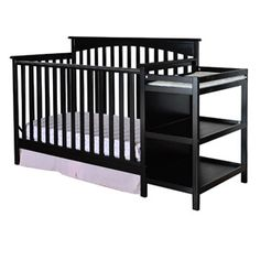 Dream on Me Chloe 4-in-1 Convertible Fixed-Side Crib with Changer, Black