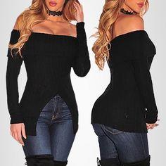 Trendy Women Off Shoulder Split Knitted Top