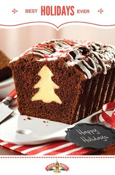 Chocolate Surprise Loaf Cut out frozen pound cake slices with cookie cutters and line them up in a pan touching each other. Surround with chocolate batter and bake. Xmas Food, Christmas Sweets, Christmas Cooking, Christmas Tree, Christmas Ideas, Christmas Cakes, Christmas Kitchen, Christmas Christmas, Food Cakes