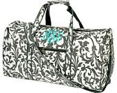 Personalized With Embroidery Grey and White Damask Print 21 Inch Duffel Bag