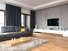 Living Room Interior Screen Flat Tv Hanging On Grey Wall In Living Room Design To Wall Color Best Contemporary Decorate Decorating Cabinets Formal Living Room Paint Ideas Modern Rooms Colors Decoration Walls Inte How To White Rooms, Room Design, Grey Couch Living Room, White Living Room Decor, Minimalist Living Room, Modern Furniture Living Room, Living Room Sets, Interior Design Furniture, Living Room Grey