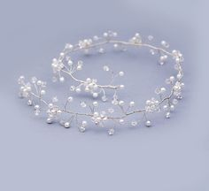 Pearl Crystal Hair Vine Formal Hair Vine by FloralHeadpiece