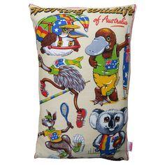 Sporting Wildlife of Australia Cushion | Merry-Go-Round on Madeit Advance Australia Fair, Caravan Decor, Merry Go Round, Australian Animals, Creative Words, Vintage Tea, Handmade Decorations, Home Gifts, Pillow Inserts