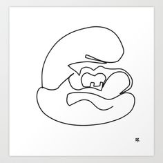 one line drawing papa smurf Art Print by Zenscious