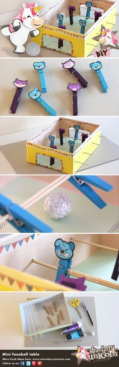 How to make a #DIY mini foosball table game with a shoebox! Cute, easy, cheap and funny! In this video #tutorial, Strawberry Unicorn shows you how to #upcycle a #shoebox into a cute #homemade mini #foosball table!
