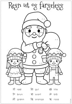Bilderesultat for juleoppgaver Easy Math Games, Math Activities For Kids, Christmas Math, Christmas Colors, Apple Theme, Simple Math, Holidays And Events, Kids And Parenting, Coloring Pages