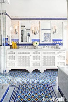 Moroccan tile design for the bathroom.